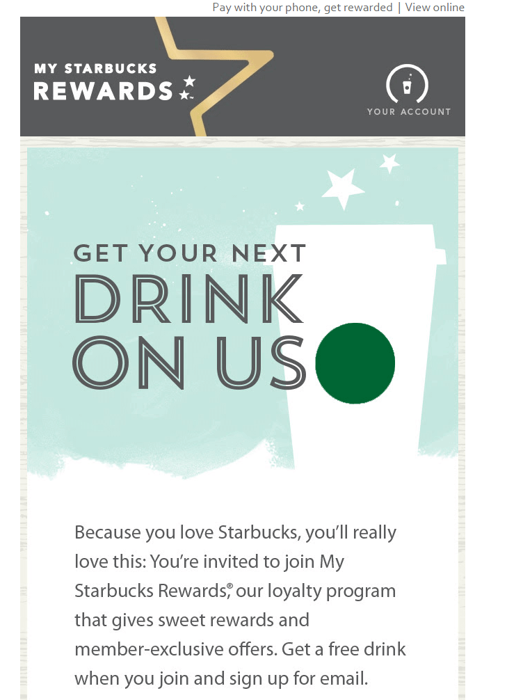Starbucks Promotion 2 email marketing