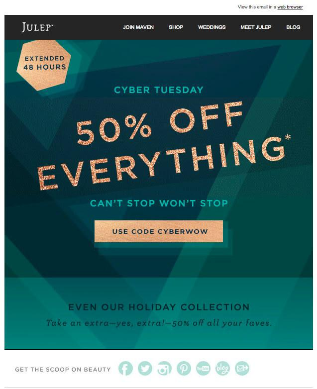 holiday email marketing example 3